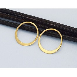 24k Gold  Vermeil Style  2 Circle Links, Connectors 15 mm. Polish Finished