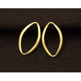 24k Gold  Vermeil Style  2 Flat Marquise Links Connectors 12x20 mm.