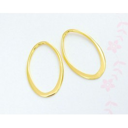 925 Sterling Silver 24k Gold  Vermeil Style 2 Oval Links, Connectors .