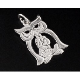 925 Sterling Silver Owl Pendant  12.5x17mm.