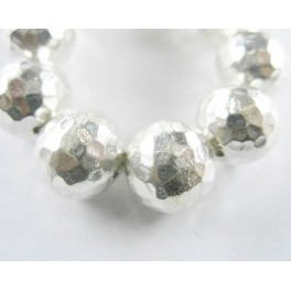 Karen Hill Tribe Silver 2 Hammered Round Beads 13.8 mm.