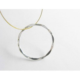 Sterling Silver 6 Hammered Circle Closed Rings 17mm.