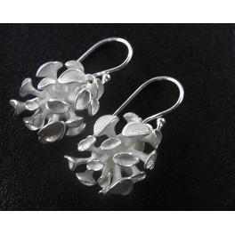 925 Sterling Silver Flower Earrings 14x17mm.