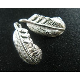 925 Sterling Silver 4 Feather Charms  7x14.5 mm.