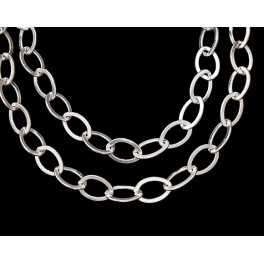 925 Sterling Silver Flat Marquise Link Chain 6x8.5 mm. 12 inches