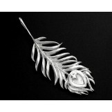 925 Sterling Silver Peacock Feather Pendant  10x30 mm.