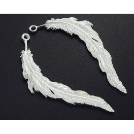 925 Sterling Silver 2 Feather Pendants  5x34 mm.