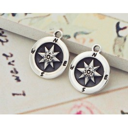 925 Sterling Silver 2 Compass Printed Disc Charms 11 mm.