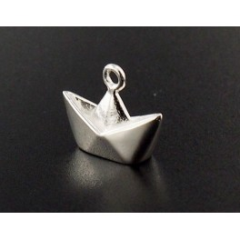 925 Sterling Silver  Origami Boat Charm 10x14mm. Polished Finish.