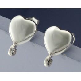 925 Sterling Silver 2 Pairs of Heart Earrings Post Findings 8.5 mm.