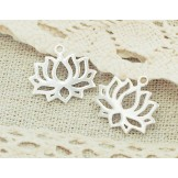 925 Sterling Silver 2 Lotus Charms 14.5x17mm. Polished Finish.