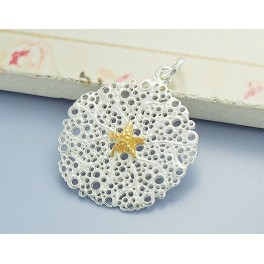 925 Sterling Silver Coral and Starfish Pendant 22 mm. Polished Finish