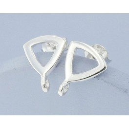 925 Sterling Silver 1 Pair of Triangle Earrings Post Findings 9 mm.