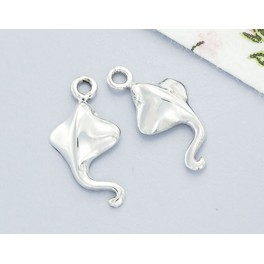 925 Sterling Silver 2 Mini Stingray Charms 14x8mm.