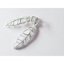 2 of 925 Sterling Silver Leaf Charms 7x22 mm.Polish Finished.