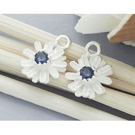 925 Sterling Silver 2 Daisy Charms with Lab grown Sapphire.